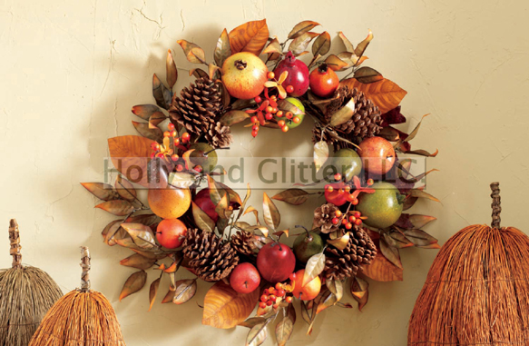 Autumn Harvest Fruit & Pinecone Wreath, Free Shipping!