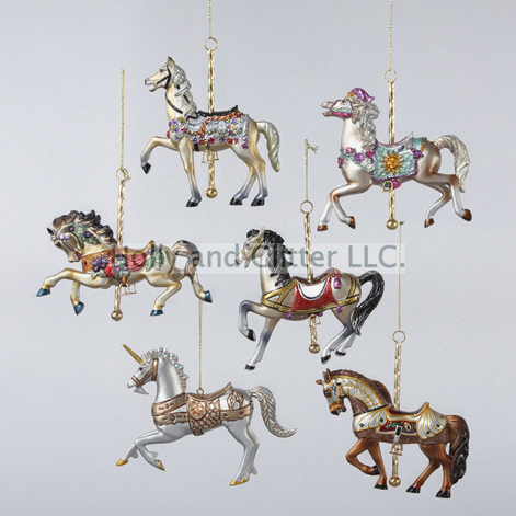 carousel horse ornaments set of 6 free shipping - Horse Christmas Ornaments