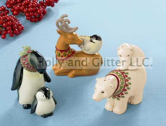 Christmas Animal Magnetic Salt & Pepper Shakers, Choose From Polar Bear, Penguin & Reindeer