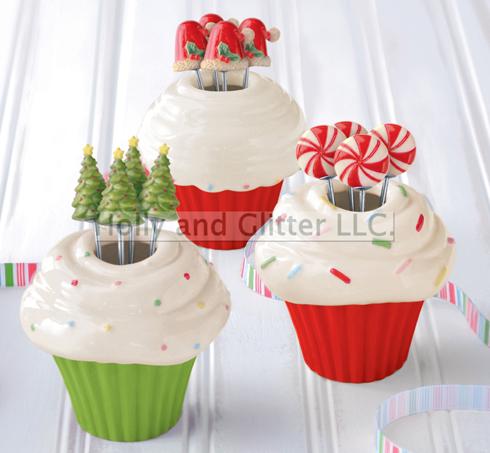 Christmas Cupcake Appetizer Picks, Set Of 3
