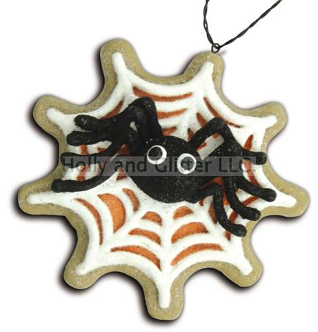 Halloween Spider In Web Gingerbread Cookie Ornaments, Lee Walker Shepherd, Bethany Lowe, Free Shipping!