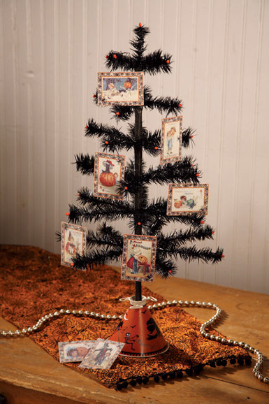 Bethany Lowe Christmas Ornaments.Nostalgic Black Feather Tree With Mini Halloween Deco Bead