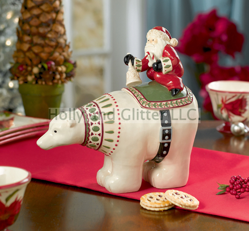 Christmas Polar Bear & Santa Claus Cookie Jar, Free Shipping!!
