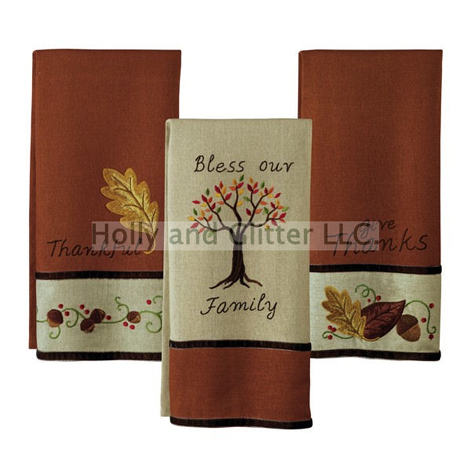 Thankful Holiday Towels,  Set Of 3