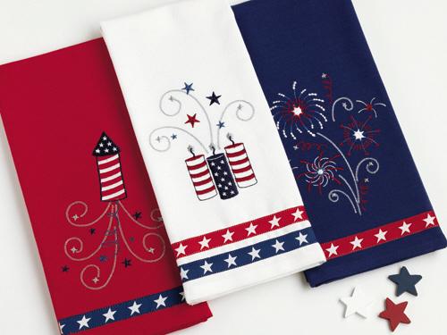 Fireworks Embroidered Dishtowels, Set of 3