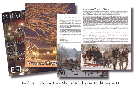 Shabby Lane Shops Holidays & Traditions Magazine 2011, Read Our Very Own Christmas Miracle Town Article