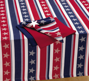 "Americana Stars & Stripes Jacquard Tablecloth, 60"" x 84"""