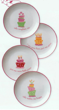 Birthday Party Cake Plates, Set Of 4
