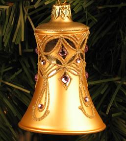 Caroling Bell Ornament, Champagne & Lavender