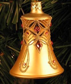 Caroling Bell Ornament, Champagne & Pink