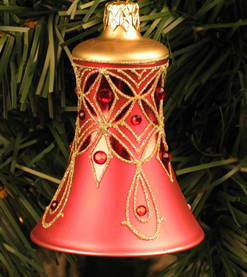 Caroling Bell Ornament, Scarlet Red