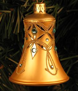 Caroling Bell Ornament, Champagne & Aqua