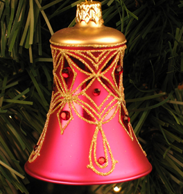 Caroling Bell Ornament, Rose