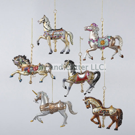 Carousel Horse Ornaments, Set of 6, Free Shipping!
