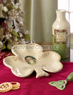 Celtic Santa Milk And Cookie Plate, 2 Piece Set