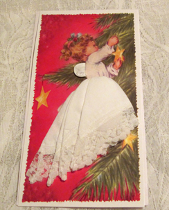 Heavenly Christmas Lace Angel Handkerchief Mailable Card
