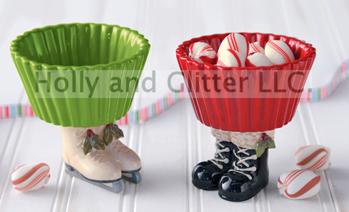 Christmas Cupcake Ice Skates Or Santa Boots Candy Bowls