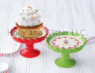 Christmas Cupcake Pedestal Cake Stands, Set of 2
