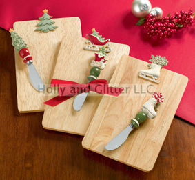 Christmas Cutting Board With Spreader, Choose From Ice Skates, Christmas Tree Or Sleigh