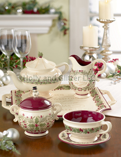 Christmas Holly & Berries Tea Set, Includes Teapot, Set Of 4 Teacups & Saucers, Sugar & Creamer & Tray, Free Shipping!