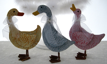 Springtime Pastel Ducks, Set Of 3