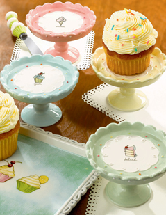 Cupcake Pedestal Cake Stands, Set Of 4, New!