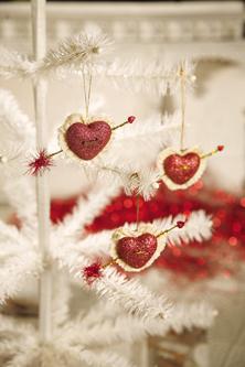 Cupid's Heart Ornaments, Bethany Lowe, Set Of 6