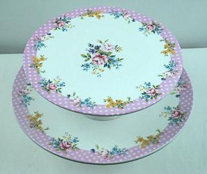 Spring Floral Cake Stands, Set Of 2