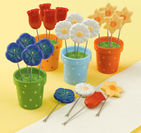 Spring Flower Appetizer Picks In Decorative Flower Pots