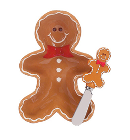 Gingerbread Man Dip Bowl & Spreader Set