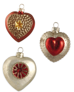 Glass Heart Ornaments, Bethany Lowe, Set Of 6