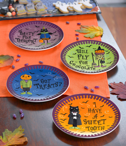 Go Batty Halloween Dessert Plates, Set of 4