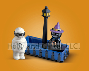 Halloween Cat & Mummy Salt & Pepper Shaker Set
