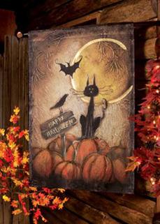 Happy Halloween Black Cat Flag, Large