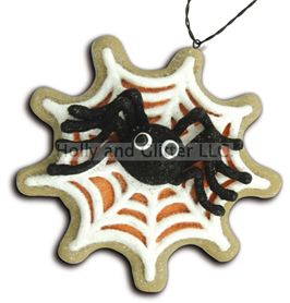 Halloween Spider In Web Gingerbread Cookie Ornaments, Lee Walker Shepherd, Bethany Lowe, Free Shipping!
