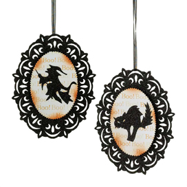 Halloween Vintage Lace Style Ornaments, Witch & Cat, Set of 2