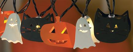 Halloween Lantern Lights, Ghost, Pumpkin & Black Cat, 10 lights