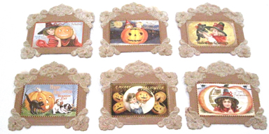 Halloween Framed Postcards, Vintage Style