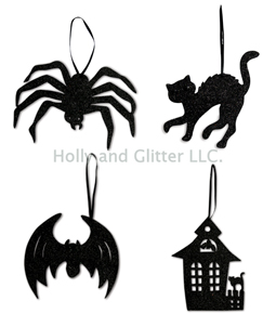 Halloween Silhouette Ornaments, Bethany Lowe, Set Of 4, Free Shipping!
