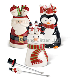 Holiday Character Appetizer Picks, Choose From Snowman, Santa Claus & Penguin!  Free Shipping!