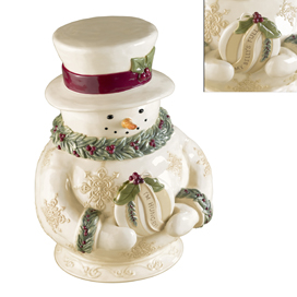 Holly Jolly Snowman Cookie Jar