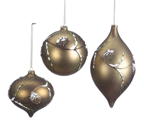 Lodge & Cabin Ball, Drop Ornaments, Set of 3