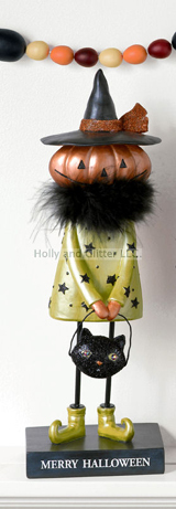 Merry Halloween Witch Pumpkin Figurine
