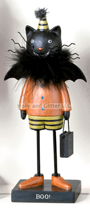 Mr. Kitty Halloween Figurine In Bat Costume