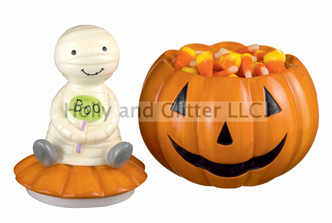 Halloween Mummy On Jack-O-Lantern Mini Candy Dish