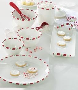 Peppermint Candy Mixing Bowls, Round Platter & Candy Cane Rectangular Platter