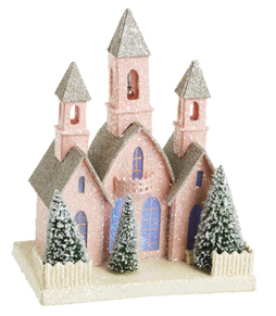 Pink Church, Christmas Or Shabby Decor