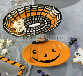 Halloween Pumpkin & Spider Web Nested Trays, Set Of 2