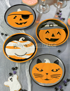 Halloween Pumpkin Face Appetizer Plates, Set of 4