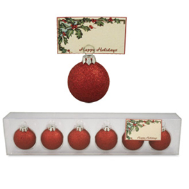 Red Bulb Ornament  Place Card Holders, Bethany Lowe, Set Of 6